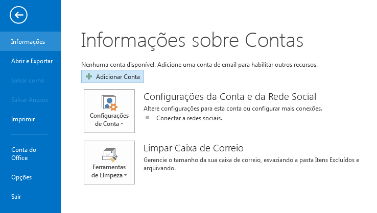 Configurando Outlook 2016