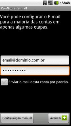 como configurar e-mail usando o android