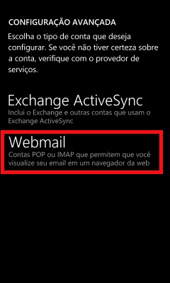 configuração do windows phone